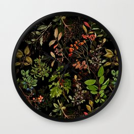 Vintage & Shabby Chic - vintage botanical wildflowers and berries on black Wall Clock