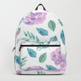 Pink roses with green leafs on black Backpack