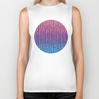 knit Biker Tanks featuring Chunky Knit Pattern in Pink, Blue & Purple by micklyn