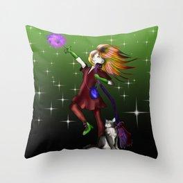 Young enchantress creating a fireball Green  Throw Pillow
