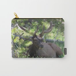 Buck Elk Deer With Velvet Horns at Yellowstone National Park Carry-All Pouch