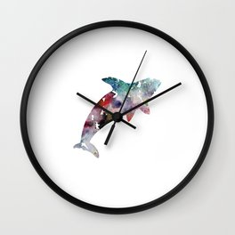 Killer Whale Print Blue and Purple Watercolor Orca Wall Clock