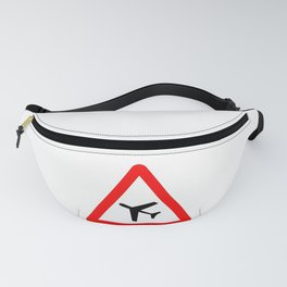 Low Flying Aircraft Traffic Sign Isolated Fanny Pack