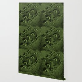 Camouflaged butterflies and flowers in green Wallpaper