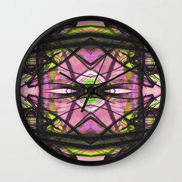Abstract Kiwi Pattern with Fluid Black Line Wall Clock