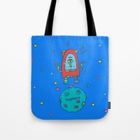 spaceman Tote Bags featuring spaceman by PINT GRAPHICS
