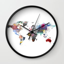 World map collage Wall Clock