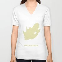 south africa V-neck T-shirts featuring South Africa map by CartoPosters Maps
