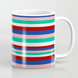 Colored Stripes - Dark Red Blue Rose Teal Cream Coffee Mug