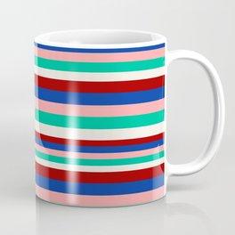 Colored Stripes - Dark Red Blue Rose Teal Cream Coffee Mug