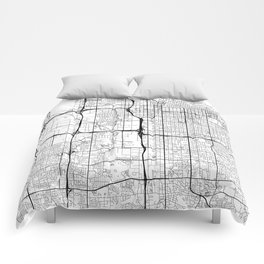 Salt Lake City Map White Comforters