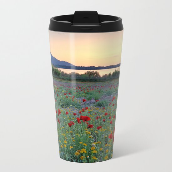 Red Poppies. Sunset at the lake Metal Travel Mug