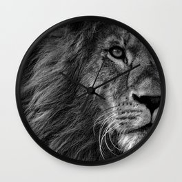 Fierce Proud Lion Black and White Wall Clock