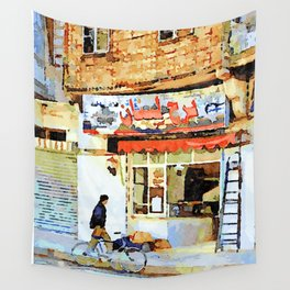 Man and bicycle in front of a shop Aleppo Wall Tapestry