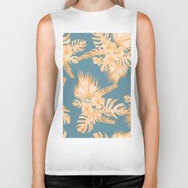 Hawaiian Hibiscus Palm Orange Teal Blue Biker Tank