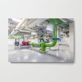 Mechanical room in the basement of the Federal Building at 300 N Los Angeles Blvd Metal Print