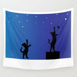 Two cat with small butterfly Wall Tapestry