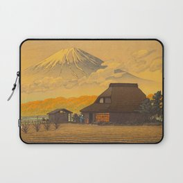 Vintage Japanese Woodblock Print Sepia Japanese Farm Mount Fuji Farmer Laptop Sleeve