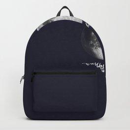 Waxing Gibbous Moon on Navy English Backpack