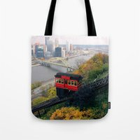 steelers Tote Bags featuring An Autumn Day on the Duquesne Incline in Pittsburgh, Pennsylvania by Ed Lightcap