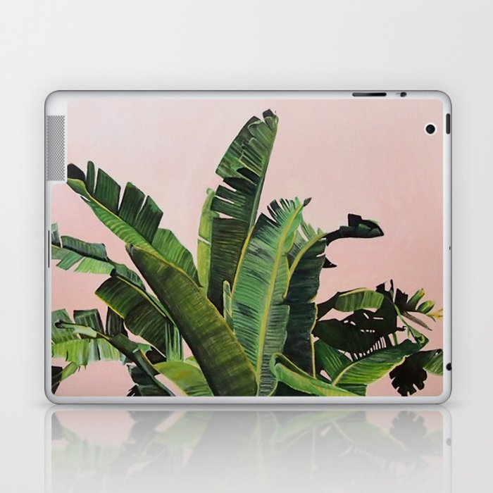 Tropical Palm leaves on pink Laptop & iPad Skin