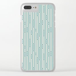 Dotted lines in cream, teal and sea foam Clear iPhone Case