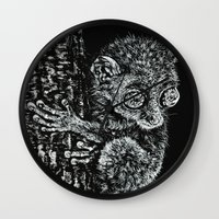 philippines Wall Clocks featuring Bohol Tarsier from the Philippines by Nathan Cole