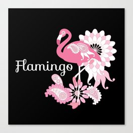 Pink Flamingo Girly Cute Black Canvas Print