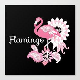 Pink Flamingo Cool Cute Black Canvas Print