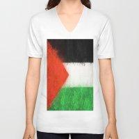 palestine V-neck T-shirts featuring Palestine by 2b2dornot2b