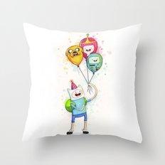 Finn with Birthday Balloons Jake Princess Bubblegum BMO Throw Pillow