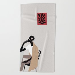 Cafe scene Beach Towel