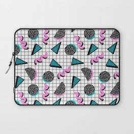 It's Casual - memphis throwback retro neon squiggle grid shapes geometric black and white modern art Laptop Sleeve