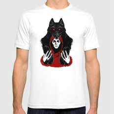 red ridin' hood White SMALL Mens Fitted Tee