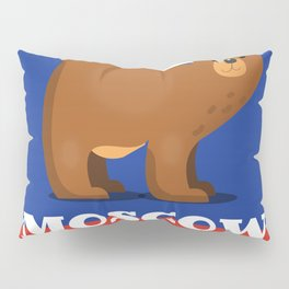 Moscow Bear and flag travel poster. Pillow Sham