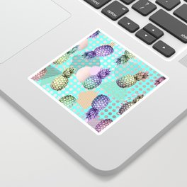 Pineapple Summer Rainbow Rose Gold Sticker