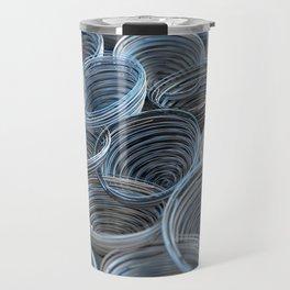 Black, white and blue spiraled coils Travel Mug