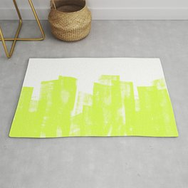 Rolled Ink Texture in Bright Lime Green and White Rug