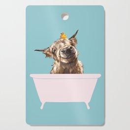 Playful Highland Cow in Bathtub Cutting Board