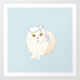 White Cat Art Print