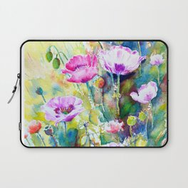 Watercolor purple poppies Laptop Sleeve