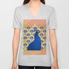 CONTEMPORARY BLUE ART DECO PEACOCK PINK-YELLOW ART Unisex V-Neck