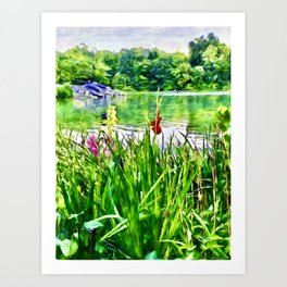 Reeds and Flowers by the Pond Art Print