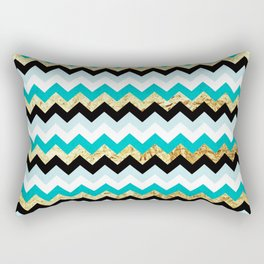Black, Teal, and Gold Chevron Pattern Rectangular Pillow
