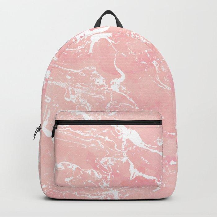 Modern pastel blush pink watercolor marble pattern Backpack