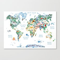 CUTEST WORLD MAP EVER Canvas Print