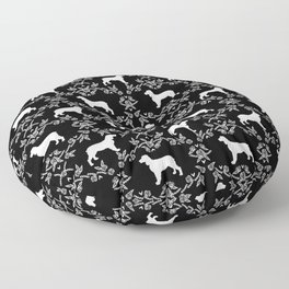 English Springer Spaniel dog breed black and white floral pet portraits dog silhouette dog pattern Floor Pillow