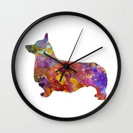 Pembroke Welsh Corgi 01 in watercolor Wall Clock