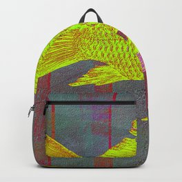 Gold Fish On Striped Background Backpack