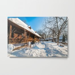 Fairy Tale Winter View at the Village Museum in Bucharest Metal Print